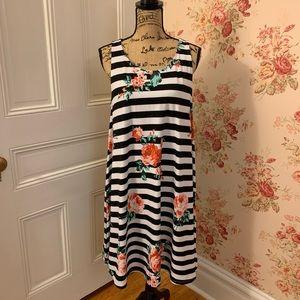 Bobbie Brooks Striped Floral Dress